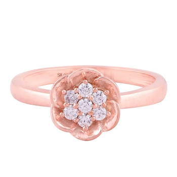 Rose Gold Plated Cubic Zirconia Women Floral Ring