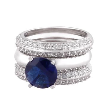 Blue Cubic Zirconia Rhodium Plated Women Finger Ring