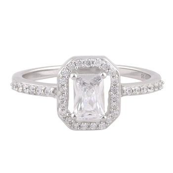 Cubic Zirconia Rhodium Plated Anniversary Ring for Women