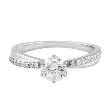 Cubic Zirconia Rhodium Plated Solitaire with Accents Ring for Women's