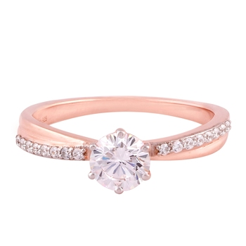 Cubic Zirconia Rose Gold Plated Solitaire with Accents Ring for Women's