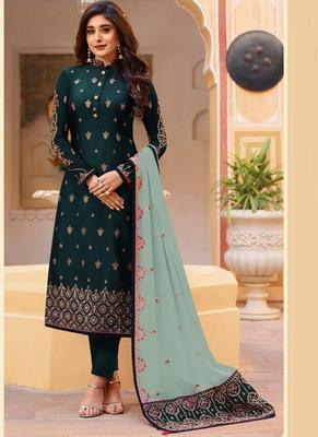 green embroidered silk blend pakistani salwar kameez