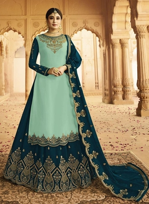 turquoise embroidered silk blend pakistani salwar kameez