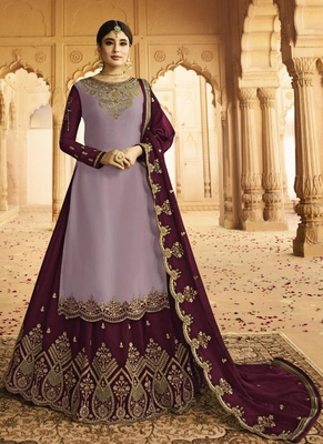 purple embroidered silk blend pakistani salwar kameez