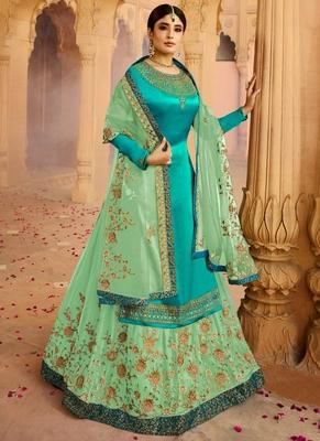 Turquoise Embroidered Georgette Pakistani Salwar Kameez