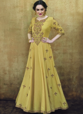 yellow embroidered rayon readymade suits