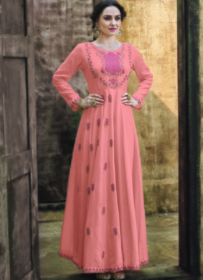 peach embroidered rayon readymade suits