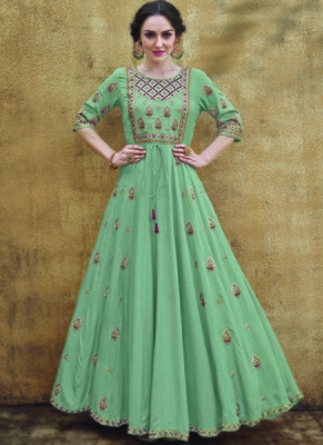 green embroidered rayon readymade suits