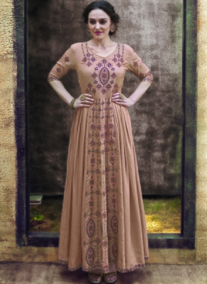 beige embroidered rayon readymade suits