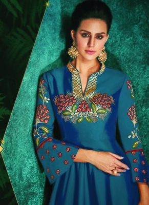 blue embroidered silk blend readymade suits