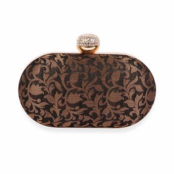 brown Clutch Purse For Women Party Wear (Oval)