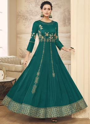 green embroidered silk blend readymade suits