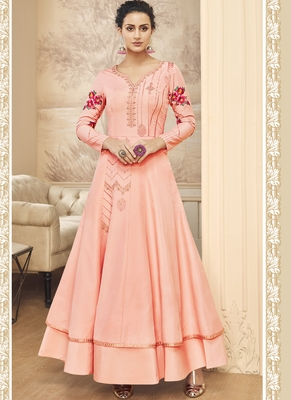 peach embroidered silk blend readymade suits