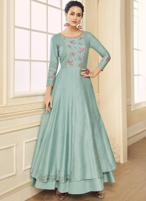 turquoise embroidered silk blend readymade suits