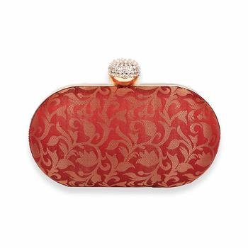 Red Clutch Purse For Women Party Wear (Oval)