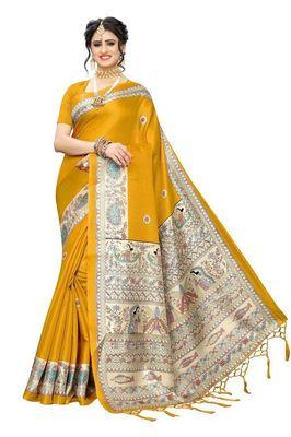 Yellow printed art sillk saree with blouse
