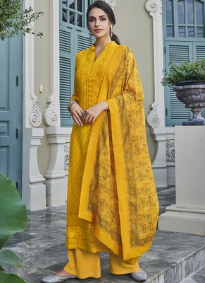 yellow embroidered georgette readymade suits