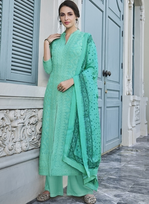 Turquoise Embroidered Georgette Readymade Suits