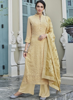 cream embroidered georgette readymade suits