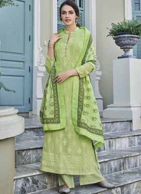 Lime Embroidered Georgette Readymade Suits