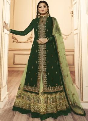 green embroidered georgette pakistani salwar kameez