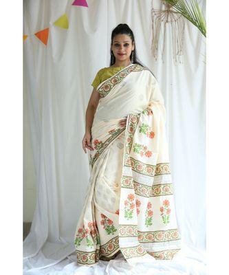 Noor printed Cotton Sari