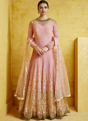 pink embroidered georgette readymade suits