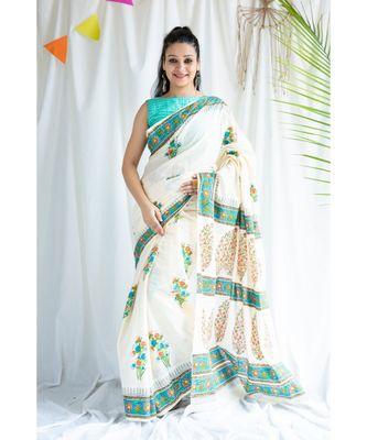 Farozen printed Cotton Sari