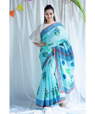 Umber printed Cotton Sari