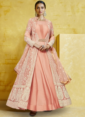 peach embroidered georgette readymade suits