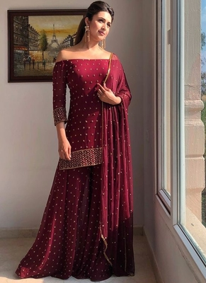 maroon embroidered georgette pakistani salwar kameez