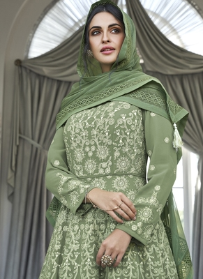 green embroidered georgette readymade suits