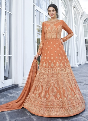 orange embroidered georgette readymade suits