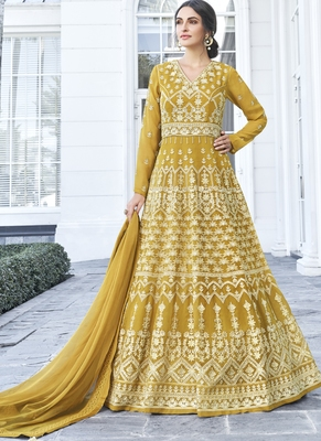 Mustard Embroidered Georgette Readymade Suits