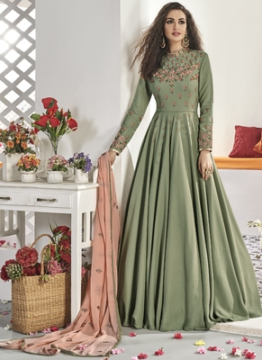 green embroidered viscose readymade suits