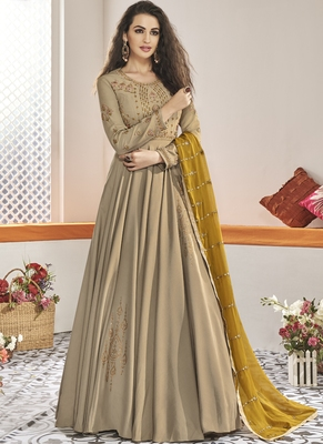 beige embroidered viscose readymade suits