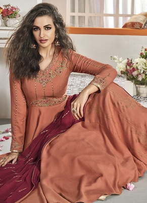 peach embroidered viscose readymade suits