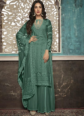 green embroidered georgette party wear salwar kameez