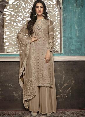 Beige Embroidered Georgette Party Wear Salwar Kameez
