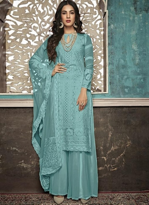 turquoise embroidered georgette party wear salwar kameez
