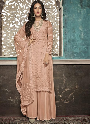 Peach Embroidered Georgette Party Wear Salwar Kameez
