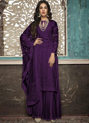 Purple Embroidered Georgette Party Wear Salwar Kameez