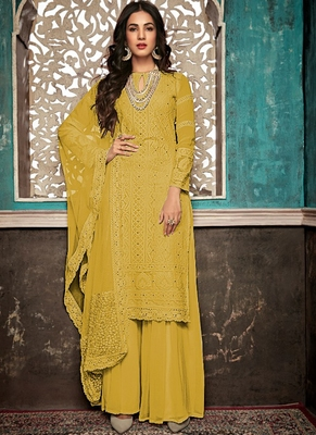 Yellow Embroidered Georgette Party Wear Salwar Kameez