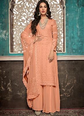 Peach Embroidered Georgette Party Wear Salwar Kameez