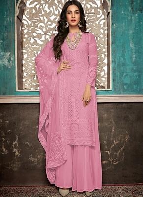Pink Embroidered Georgette Party Wear Salwar Kameez