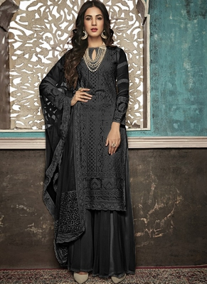 Black Embroidered Georgette Party Wear Salwar Kameez