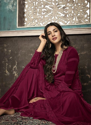 Maroon Embroidered Georgette Party Wear Salwar Kameez