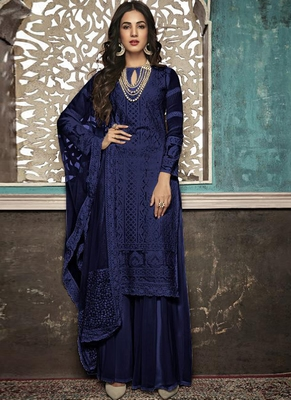 blue embroidered georgette party wear salwar kameez