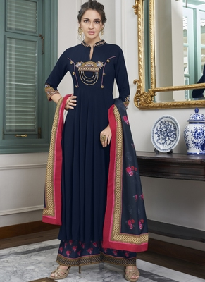 Blue Embroidered Silk Blend Party Wear Salwar Kameez