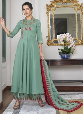 Turquoise Embroidered Silk Blend Party Wear Salwar Kameez
